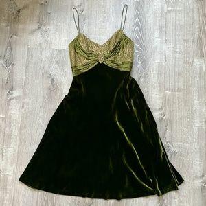 Badgley Mischka olive green cocktail dress 2